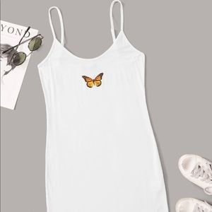 Butterfly Graphic Bodycon Mini Dress/white